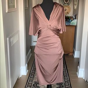 Beautiful V-Neck Knotted Ruched Dress